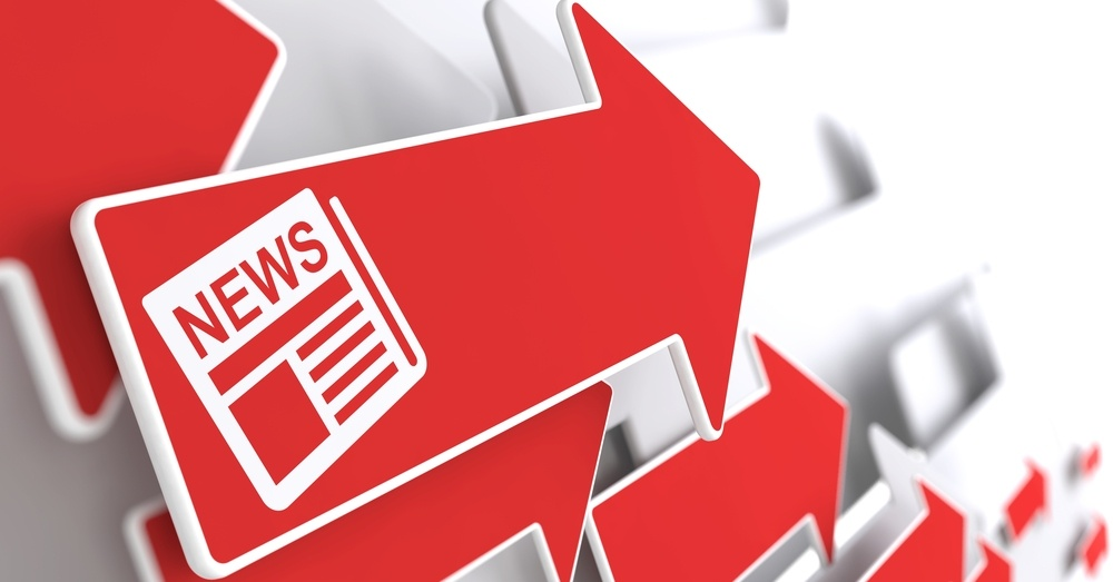 Newspaper Icon with News Title - Red Arrow on a Grey Background. Mass Media Concept..jpeg